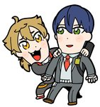 2boys :3 ahoge bandaged_hands bandages bangs bkub blazer blue_hair blush blush_stickers brown_footwear brown_hair collared_shirt dot_nose earrings eyebrows_visible_through_hair fang full_body fushimi_gaku grey_jacket grey_pants hair_between_eyes hands_on_another's_shoulders jacket jewelry kenmochi_touya male_focus multiple_boys necktie nijisanji open_blazer open_clothes open_jacket open_mouth orange_eyes pants red_footwear red_neckwear ring school_uniform shirt shoes short_hair simple_background smile socks sweater_vest virtual_youtuber white_background white_legwear white_shirt wing_collar