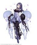 1girl absurdres armored_boots bare_shoulders boots claws detached_sleeves doll doll_joints drag-on_dragoon drag-on_dragoon_3 dress facial_mark forehead_mark full_body hair_between_eyes hair_ornament hairclip head_tilt highres ji_no looking_at_viewer metal_boots official_art petals purple_eyes purple_hair scissors shield sinoalice solo square_enix sword thigh_boots thighhighs three_(drag-on_dragoon) weapon white_background
