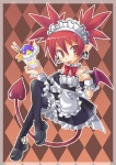 1girl :p alternate_costume argyle argyle_background blush brown_background demon_girl demon_tail demon_wings disgaea enmaided etna headdress karina maid maid_headdress makai_senki_disgaea mary_janes prinny red_eyes red_hair shoes skull tail thighhighs tongue tongue_out wings