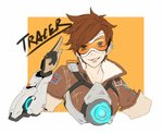 1girl bomber_jacket brown_eyes brown_hair brown_jacket buckle character_name check_commentary chinese_commentary commentary commentary_request ear_piercing earrings enseisong gloves goggles grin harness jacket jewelry leather leather_jacket multiple_earrings orange_background overwatch patch piercing salute short_hair simple_background smile smirk solo spiked_hair tracer_(overwatch) union_jack upper_body