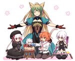 2boys 4girls ^_^ animal_ears arjuna_(fate/grand_order) atalanta_(fate) bandaged_arm bandages blonde_hair braid cat_ears cat_tail child closed_eyes commentary_request dagger fate/grand_order fate_(series) fujimaru_ritsuka_(female) green_eyes green_hair hair_bobbles hair_ornament hat jack_the_ripper_(fate/apocrypha) karna_(fate) knife long_hair multicolored_hair multiple_boys multiple_girls navel nm222 nursery_rhyme_(fate/extra) orange_hair outstretched_arms pink_eyes puffy_short_sleeves puffy_sleeves short_hair short_sleeves simple_background smile spread_arms table tail twin_braids two-tone_hair weapon white_background white_hair younger