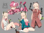 1girl absurdres alternate_costume animal_ears bangs bare_legs blonde_hair blush boots bow bowtie breasts cat_ear_headphones cat_ears cat_tail coat commentary_request cosplay eromanga_sensei fake_animal_ears girls_frontline gloves green_eyes hair_between_eyes hayarob headphones highres izumi_sagiri izumi_sagiri_(cosplay) llenn_(sao) long_hair looking_at_viewer multiple_views off_shoulder pantyhose pink_clothes pout red_bow red_coat sidelocks ssss.gridman strap sword_art_online sword_art_online_alternative:_gun_gale_online tail takarada_rikka thigh_strap tmp_(girls_frontline) very_long_hair white_cardigan yellow_bow