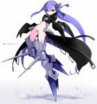 1girl armor armored_boots black_coat blue_ribbon boots commentary_request crotch_plate fate/extra fate/extra_ccc fate_(series) hair_ribbon highres juliet_sleeves karukan_(monjya) long_hair long_sleeves looking_at_viewer maebari meltlilith navel puffy_sleeves purple_hair revealing_clothes ribbon sleeves_past_wrists solo spikes very_long_hair