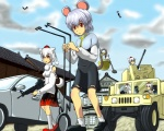6+girls animal_ears car dowsing_rod gap gun hat humvee inubashiri_momiji left-hand_drive machine_gun motor_vehicle mouse mouse_ears multiple_girls nazrin shameimaru_aya tail tokin_hat touhou u.s.m.c vehicle weapon wolf_ears wolf_tail yakumo_yukari yukkuri_shiteitte_ne