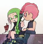 1boy 1girl black_cape black_footwear black_pants boots cape domino_mask food green_eyes green_hair grin headgear holding inkling kirikuchi_riku long_hair long_sleeves looking_at_another mask mohawk octarian octoling open_mouth pants pink_eyes pink_hair pocky shoes short_hair single_bare_shoulder single_sleeve sitting smile splatoon_(series) splatoon_2 splatoon_2:_octo_expansion squidbeak_splatoon suction_cups teeth tentacle_hair torn_cape torn_clothes vest wristband zipper zipper_pull_tab