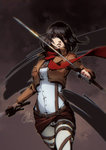 1girl belt black_eyes black_hair buckle holding jacket jurikoi mikasa_ackerman pants red_background scarf shingeki_no_kyojin shirt short_hair simple_background solo suspenders sword three-dimensional_maneuver_gear weapon white_shirt
