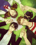 1girl 2boys black_hair brown_hair cabbie_hat choushi circle_formation closed_eyes drumsticks freckles glasses hat kawabuchi_sentarou lying mukae_ritsuko multiple_boys nishimi_kaoru on_back sakamichi_no_apollon sheet_music shirt striped striped_shirt twintails