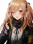 :p bangs black_gloves black_ribbon blush breasts brown_eyes brown_hair closed_mouth fingerless_gloves girls_frontline gloves hair_between_eyes hair_ornament hair_ribbon hairclip hand_up hood hood_down hooded_jacket jacket long_hair looking_at_viewer one_eye_closed open_clothes open_jacket ribbon scar scar_across_eye shirt sidelocks silence_girl simple_background smile tongue tongue_out twintails ump9_(girls_frontline) upper_body white_background white_shirt