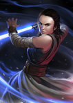 1girl brown_eyes brown_hair detached_sleeves energy_sword fighting_stance highres holding holding_weapon jedi lightsaber lips looking_at_viewer nose okita realistic rey_(star_wars) sash science_fiction serious solo star_wars star_wars:_the_last_jedi sword weapon