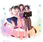 3girls :d ^_^ alternate_costume bangs bare_legs black_hair blue_butterfly blue_skirt blush boots breasts brown_footwear bug butterfly butterfly_hair_ornament cherry_blossoms closed_eyes contemporary dress floral_print gradient_hair hair_ornament hug insect kimetsu_no_yaiba kochou_kanae kochou_shinobu long_hair long_sleeves looking_at_another looking_at_viewer medium_breasts multicolored_hair multiple_girls neck_ribbon off-shoulder_shirt off_shoulder one_eye_closed open_mouth parted_bangs petals pink_dress pink_hair piyopoyo plaid plaid_skirt pleated_skirt purple_eyes purple_hair red_footwear red_neckwear ribbon sailor_collar shirt shoes short_hair short_sleeves siblings side_ponytail sisters skirt smile socks thighs tsuyuri_kanao twitter_username two-tone_hair white_background white_shirt