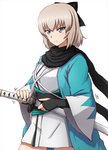 1girl black_bow black_scarf blonde_hair blue_eyes bow commentary_request contrapposto cosplay fate/grand_order fate_(series) girls_und_panzer highres iaidou itsumi_erika japanese_clothes katana medium_hair obi okita_souji_(fate) okita_souji_(fate)_(all) okita_souji_(fate)_(cosplay) omachi_(slabco) sash scarf serious sheath solo sword tsurime unsheathing weapon wide_sleeves