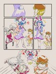 /\/\/\ 3girls 4koma afterimage angel_wings anger_vein angry animal_ears bangs barefoot blonde_hair blouse blue_hair blush boots brown_hat bunny_ears bunny_tail chamaruku comic commentary_request dress ear_clip flat_cap fleeing floppy_ears grabbing grey_hair grey_wings hand_on_own_face hat highres holding jacket juliet_sleeves kine kishin_sagume long_dress long_sleeves looking_at_another mallet medium_dress motion_lines multiple_girls nose_blush open_clothes open_jacket open_mouth puffy_sleeves purple_dress red_eyes ringo_(touhou) running seiran_(touhou) short_hair short_sleeves shorts silent_comic single_wing socks sound_effects squatting standing surprised tail tail_grab touhou twintails wings
