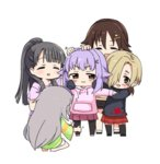 5girls :3 :d bangs beige_shirt black_footwear black_hair black_hoodie black_legwear black_shorts blonde_hair blunt_bangs blush brown_eyes brown_hair cat_hair_ornament character_request chibi closed_eyes closed_mouth drawstring eyebrows_visible_through_hair green_shirt grey_hair hair_between_eyes hair_flaps hair_ornament hair_over_one_eye hairclip hand_on_another's_head hands_in_sleeves high_ponytail hoshi_shouko idolmaster idolmaster_cinderella_girls kobayakawa_sae koshimizu_sachiko long_hair long_sleeves moru_(monaka) multiple_girls one_knee open_mouth outstretched_arms pantyhose pink_hoodie pink_shirt pink_skirt plaid plaid_skirt pleated_skirt ponytail purple_hair red_skirt shirasaka_koume shirt shoes short_hair short_shorts short_sleeves shorts sidelocks simple_background skirt smile socks spread_arms standing thighhighs v-shaped_eyebrows very_long_hair white_background white_legwear white_skirt