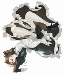 1girl absurdres alternate_costume apron bangs black_clothes black_footwear brown_eyes brown_hair closed_mouth dress enmaided full_body highres long_sleeves looking_at_viewer maid maid_apron maid_dress maid_headdress maro_(lij512) overwatch shoes short_hair simple_background solo spiked_hair tracer_(overwatch) upside-down white_background white_legwear