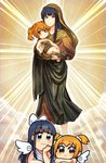 2girls :3 angel angel_wings bangs blonde_hair blue_eyes blue_hair blunt_bangs blush cloud commentary dual_persona fine_art_parody floating hair_ornament hair_ribbon hair_scrunchie hands_on_own_chin head_rest holding_baby jesus kataro light_rays long_hair looking_at_viewer medium_hair mother_and_child multiple_girls parody pipimi poptepipic popuko ribbon scrunchie sidelocks sistine_madonna smile virgin_mary white_ribbon white_robe white_wings wings yellow_eyes