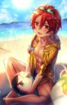 :< abs alexander_(fate/grand_order) ball bangs beach beachball black_hair blurry butterfly_sitting collarbone day depth_of_field fate/grand_order fate_(series) green_eyes hair_between_eyes hood hoodie jitome male_focus ocean open_clothes open_hoodie outdoors red_eyes red_hair shigaraki_(strobe_blue) sidelocks solo sunglasses sunglasses_on_head toned toned_male waver_velvet