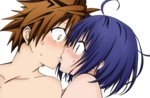 1boy 1girl blue_eyes blue_hair blush brown_eyes brown_hair kiss sairenji_haruna short_hair to_love-ru to_love-ru_darkness yabuki_kentarou yuuki_rito