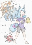 1girl :d absurdres animal_ears bag barefoot bike_shorts blue_eyes blue_hair blush bow bug commentary_request creature doitsuken drinking_straw fangs fox_ears fox_tail heart heart_in_mouth highres holding insect ladybug long_hair open_mouth original pink_bow purple_shirt red_pupils scan shirt short_sleeves smile solo standing tail tail_bow traditional_media translation_request walking