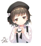 1girl aliter beret black_headwear blush brown_eyes brown_hair closed_mouth collared_shirt commentary_request cropped_torso hands_up hat hatoba_tsugu hatoba_tsugu_(character) head_tilt heart heart_hands highres long_sleeves looking_at_viewer mole mole_under_eye shirt short_hair signature simple_background smile solo suspenders upper_body virtual_youtuber white_background white_shirt