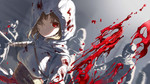 1girl animated assassin's_creed_(series) attacking_viewer bilibili_douga blood blood_splatter bloody_clothes brown_hair cloak closed_mouth expressionless foreshortening holding holding_sword holding_weapon hood hood_up hooded_jacket jacket long_hair long_sleeves looking_at_viewer mianbaoshi_mengxiang one_eye_covered people perspective pov red_eyes sash slashing slow_motion soldier solo_focus sword ugoira weapon white_cloak