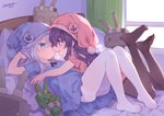 2girls :d akatsuki_(kantai_collection) anchor_symbol arm_up bangs blue_dress blue_eyes blue_headwear blush breasts brown_legwear closed_mouth commentary_request curtains dated dress eye_contact eyebrows_visible_through_hair feet hair_between_eyes hat hibiki_(kantai_collection) highres indoors kantai_collection legs_up lifebuoy long_hair looking_at_another lying multiple_girls nightcap no_shoes on_bed on_stomach open_mouth pantyhose pillow pink_dress pink_headwear profile purple_eyes purple_hair rensouhou-chan short_sleeves signature silver_hair small_breasts smile sunlight tsubasa_tsubasa very_long_hair white_legwear window yuri