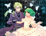 1boy 1girl ai-kun alternate_costume alternate_hairstyle ascot asymmetrical_bangs bangs bare_shoulders black_gloves breasts brera_sterne brother_and_sister cero_(cerocero) detached_sleeves double-breasted dress formal gloves green_hair hand_on_another's_hip hand_up looking_at_another macross macross_frontier open_mouth ranka_lee red_eyes see-through short_hair siblings small_breasts smile strapless tiara white_gloves