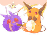 :o brown_eyes cutiefly fang flying hand_to_own_mouth hideko_(l33l3b) multicolored multicolored_eyes no_humans pokemon pokemon_(creature) purple_eyes raichu red_eyes sitting venonat