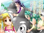 3girls alicia_testarossa bikini blonde_hair blush breasts genzaburoh green_eyes green_hair inflatable_toy inflatable_whale large_breasts lindy_harlaown lyrical_nanoha mahou_shoujo_lyrical_nanoha mahou_shoujo_lyrical_nanoha_strikers masturbation multiple_girls musical_note open_mouth pool poolside precia_testarossa purple_bikini purple_eyes purple_hair red_eyes riding spoken_musical_note swimsuit text translation_request water yellow_bikini