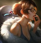 1girl bare_shoulders beads black-framed_eyewear breasts brown_eyes brown_hair cleavage coat collarbone drone fingernails floating from_side fur-lined_jacket fur_coat fur_trim glasses hair_bun hair_ornament hair_stick hand_to_own_mouth hand_up large_breasts long_fingernails machinery mei_(overwatch) off_shoulder open_clothes open_coat open_mouth overwatch parka portrait realistic robot short_hair sidelocks snowball_(overwatch) snowflake_hair_ornament solo tank_top teeth tongue tongue_out upper_body wang_chen winter_clothes winter_coat