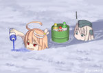 2girls :> ahoge artist_name blonde_hair blue_eyes bottle commentary drum_(container) eating eyebrows_visible_through_hair garrison_cap hair_ornament hat i-58_(kantai_collection) ice kantai_collection misumi_(niku-kyu) multiple_girls open_mouth partially_submerged red_eyes short_hair swimming syrup twitter_username u-511_(kantai_collection) water