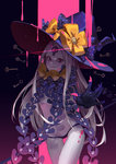 1girl abigail_williams_(fate/grand_order) black_panties bow fate/grand_order fate_(series) grey_hair grin hat key keyhole long_hair looking_at_viewer orange_bow panties pink_blood pink_eyes polka_dot polka_dot_bow red_eyes revealing_clothes smile smile_(mm-l) solo third_eye underwear very_long_hair witch_hat