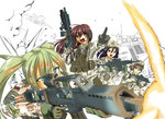 4girls action airplane armored_vehicle assault_rifle battle battle_rifle black_hair blonde_hair blue_eyes brown_eyes brown_hair camouflage copyright_request explosion fighter_jet firing g36 german_flag germany gloves green_eyes gun h&k_g3 h&k_mp7 headset heckler_&_koch helmet jet load_bearing_vest long_hair marder_i military military_vehicle multiple_girls muzzle_flash original panavia_tornado_(airplane) patch pointing rifle shell_casing simple_background soldier submachine_gun twintails vehicle war weapon white_background