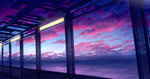 cloud cloudy_sky commentary_request evening highres lamp light mks no_humans ocean original scenery sky sunset