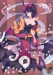 1girl animal bare_shoulders bird black_footwear bow breasts calligraphy_brush checkered checkered_bow cleavage collarbone commentary_request fate/grand_order fate_(series) flying full_body hair_ornament head_tilt highres holding holding_paintbrush japanese_clothes katsushika_hokusai_(fate/grand_order) kimono looking_at_viewer medium_breasts off_shoulder orange_bow oversized_object paintbrush pak_ce purple_eyes purple_hair purple_kimono short_sleeves socks solo standing striped striped_background tabi vertical-striped_background vertical_stripes waves white_legwear wide_sleeves zouri