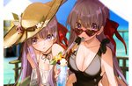 2girls bb_(fate/extra_ccc) black_swimsuit blurry breasts casual_one-piece_swimsuit choker cleavage commentary_request day depth_of_field drink drinking_straw dual_persona eyebrows_visible_through_hair fate/extra fate/extra_ccc fate_(series) flower food glint hair_ribbon hat hat_flower hat_ribbon heart heart-shaped_eyewear highres hino_hinako large_breasts looking_at_viewer matou_sakura mouth_hold multiple_girls nail_polish one-piece_swimsuit outdoors parted_lips pocky purple_eyes purple_hair ribbon ribbon_choker sun_hat sunglasses swimsuit