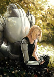 absurdres alphonse_elric armor back-to-back blonde_hair blurry closed_eyes depth_of_field edward_elric full_armor fullmetal_alchemist gehirnkaefer grass highres leaf living_armor mechanical_arm prosthesis prosthetic_arm sitting sunlight tree