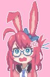 1girl ahoge anger_vein angry animal_ears blue-framed_eyewear borrowed_character bow bunny_ears commentary glasses green_eyes hair_bow hcnone headphones headphones_around_neck highres long_hair looking_at_viewer necktie open_mouth original pink_background pixel_art red_hair simple_background solo upper_body v-shaped_eyebrows