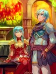 1boy 1girl 2900cm aqua_hair armor blue_eyes blush breastplate brother_and_sister cape eirika ephraim fire_emblem fire_emblem:_seima_no_kouseki fire_emblem_heroes long_hair open_mouth short_hair siblings