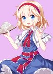 1girl :d alice_margatroid bangs blonde_hair blue_dress blue_eyes blush book breasts capelet commentary_request cowboy_shot dress eyebrows_visible_through_hair hair_between_eyes hairband hands_up highres holding holding_book index_finger_raised lolita_hairband looking_at_viewer open_mouth petticoat purple_background red_hairband red_neckwear red_sash ruu_(tksymkw) sash short_hair simple_background small_breasts smile solo touhou white_capelet wing_collar