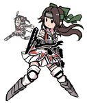 2girls >:d black_hair brown_hair cannon commentary elbow_gloves fighting_stance full_body gloves headband jintsuu_(kantai_collection) kantai_collection long_hair multiple_girls one_side_up pleated_skirt remodel_(kantai_collection) running scarf sendai_(kantai_collection) simple_background skirt solid_circle_eyes terrajin thighhighs turret white_background