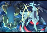 arceus flying gen_4_pokemon giratina letterboxed looking_at_viewer no_humans pippi_(pixiv_1922055) pokemon pokemon_(creature) red_eyes space wings