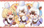 3girls animal_ears bangs black_eyes black_hair blonde_hair blush bow bowtie cake chef_hat chibi commentary_request extra_ears eyebrows_visible_through_hair food fur_collar hair_between_eyes hat highres kemono_friends multiple_girls one_eye_closed rakugakiraid silky_anteater_(kemono_friends) simple_background southern_tamandua_(kemono_friends) southern_tamandua_ex_(kemono_friends) tail toque_blanche v-shaped_eyebrows white_background white_hair