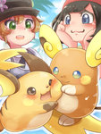 2girls alola_form alolan_raichu black_hair blue_eyes brown_hair cafe_(chuu_no_ouchi) commentary_request green_eyes hat mizuki_(pokemon_sm) multiple_girls pokemon pokemon_(creature) pokemon_(game) pokemon_sm pokemon_xy raichu serena_(pokemon) short_hair