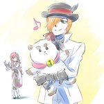 1boy 1girl bee_and_puppycat bell bowler_hat cat_doll commentary_request hair_over_one_eye hat highres hug iesupa musical_note neo_(rwby) puppycat roman_torchwick rwby sad smile