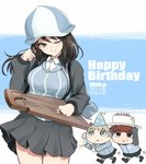 3girls :t aki_(girls_und_panzer) blue_headwear blue_jacket blue_shirt brown_eyes brown_hair cake character_name chibi closed_mouth collared_shirt commentary dated dress_shirt english_text eyebrows_visible_through_hair food food_on_finger girls_und_panzer green_eyes grey_skirt hand_in_hair hat head_tilt holding holding_food holding_instrument instrument jacket kantele kasai_shin keizoku_military_uniform keizoku_school_uniform light_brown_hair long_hair long_sleeves looking_at_viewer mika_(girls_und_panzer) mikko_(girls_und_panzer) military military_uniform miniskirt motion_lines multiple_girls one_eye_closed open_clothes open_jacket party_hat party_popper pleated_skirt raglan_sleeves school_uniform shirt short_twintails skirt smile standing striped striped_shirt track_jacket twintails uniform vertical-striped_shirt vertical_stripes walking white_shirt zipper