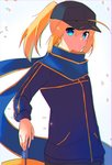 1girl ahoge artoria_pendragon_(all) baseball_cap blonde_hair blue_eyes blue_scarf blurry blurry_background commentary_request excalibur fate/grand_order fate_(series) hand_on_hilt hat highres holding holding_sword holding_weapon jacket long_sleeves looking_at_viewer mysterious_heroine_x nyokichi_(nyokitto!) ponytail purple_jacket scarf solo standing sword upper_body weapon