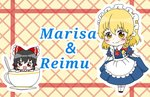 2girls alternate_costume apron black_hair blonde_hair blush bow brooch chibi cup curtsey dress enmaided hair_bow hakurei_reimu highres in_container in_cup jewelry kirisame_marisa maid maid_headdress minigirl multiple_girls natsune_ilasuto red_eyes smile spoon square_mouth teacup touhou waist_apron yellow_eyes