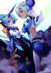 2girls armor blue_eyes blue_hair blush breasts dark_skin eyepatch highres large_breasts long_hair looking_at_viewer mikumari_(xenoblade) multiple_girls open_mouth pauldrons polearm seori_(xenoblade) short_hair simple_background smile sou_(pale_1080) weapon white_background xenoblade_(series) xenoblade_2
