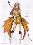 1girl bare_shoulders blonde_hair boots bow_(weapon) character_sheet concept_art full_body hair_ornament hair_ribbon highres holding holding_weapon japanese_clothes knee_boots long_hair obi pleated_skirt ribbon sash shining_(series) shining_wind simple_background skirt tanaka_takayuki touka_kureha translation_request weapon