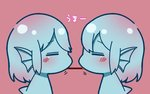 2girls =_= animal_ears bangs blue_hair blue_skin blush chibi closed_mouth dorsal_fin eyebrows_visible_through_hair facing_another fins food from_side head_fins kai_himo monster_girl multiple_girls original pink_background pocky pocky_kiss profile shared_food short_hair simple_background symmetry